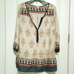 Lucky Brand Blue and Cream Print Shirt Size 1X